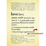 Personalised Marriage Dictionary Print