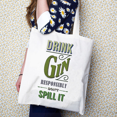 'Drink Gin' Tote Bag-Tote Bag-Of Life & Lemons®