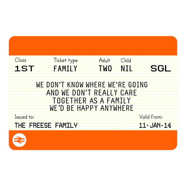 Personalised Family Train Ticket Print