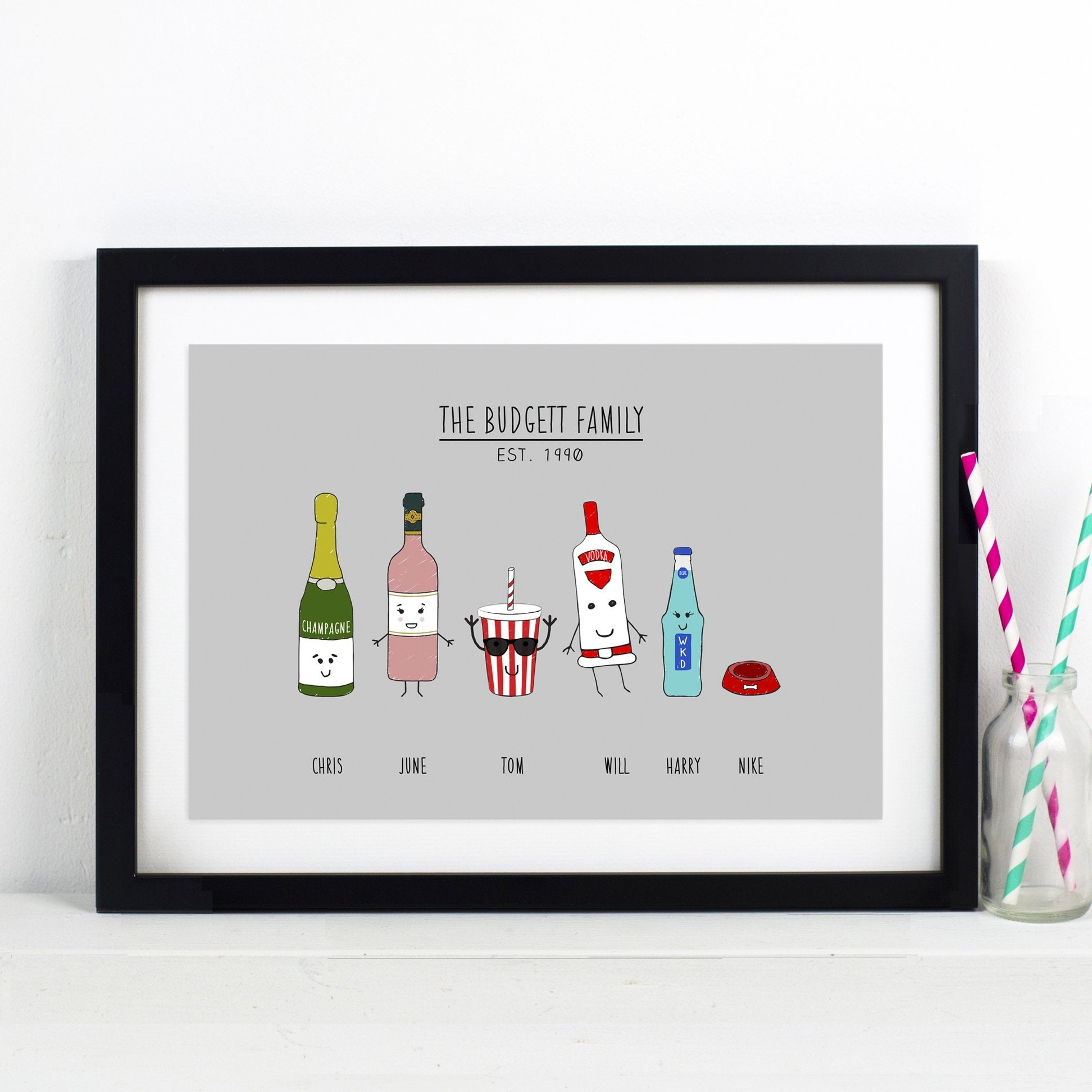 Personalised Family of Drinks Print