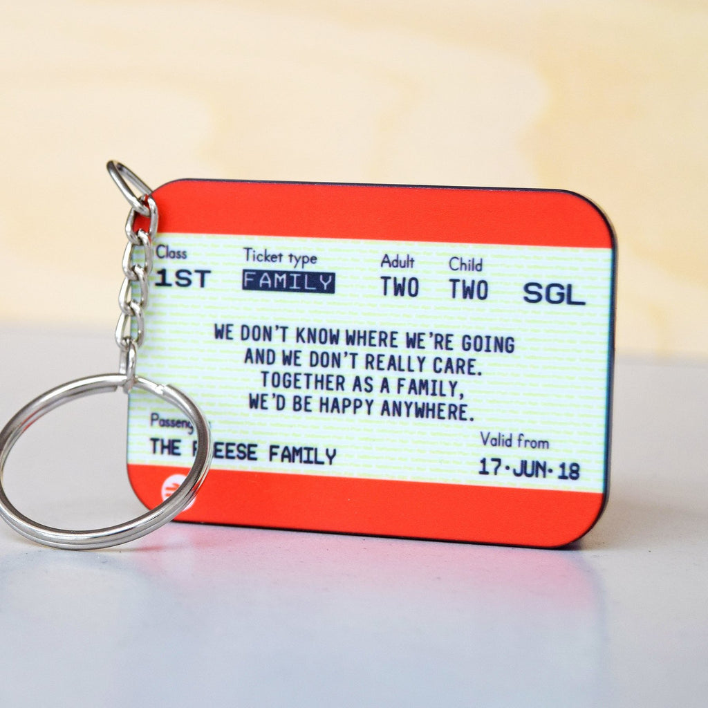 Personalised Family Train Ticket Keyring-Keyring-Of Life & Lemons®
