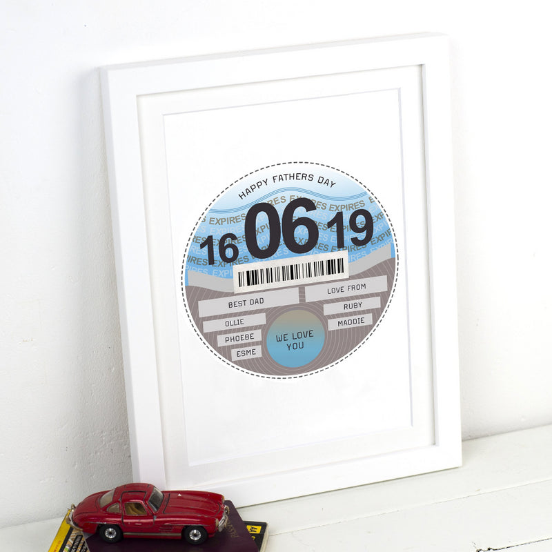 Personalised Tax Disc Print for Dad-A4 Print-Of Life & Lemons®