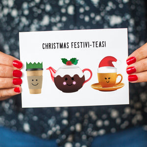 'Festivi-Teas' Funny Tea Christmas Card