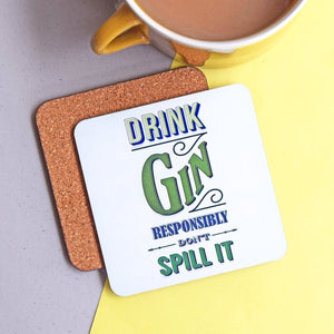 'Drink Gin' Coaster-coaster-Of Life & Lemons®