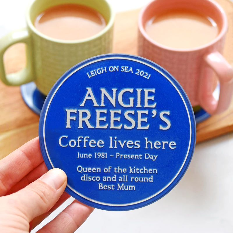 Personalised 'Blue Plaque' Glass Coaster