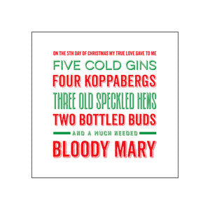 'Twelve Days of Christmas' Boozy Christmas Card-A4 Print-Of Life & Lemons®