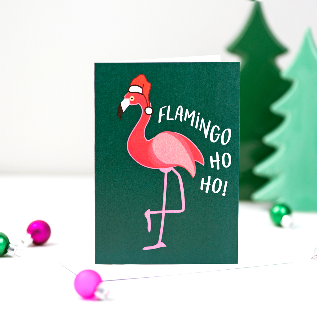 Flamingo Christmas Card-A4 Print-Of Life & Lemons®