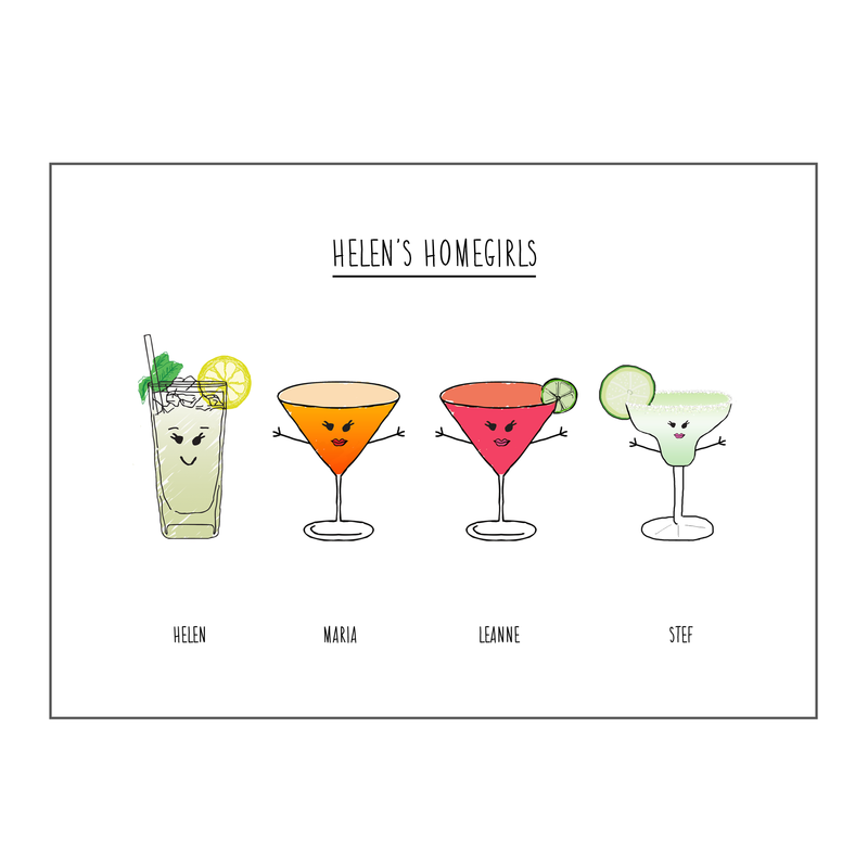 Personalised Friends Drinks Print *DIGITAL DOWNLOAD*