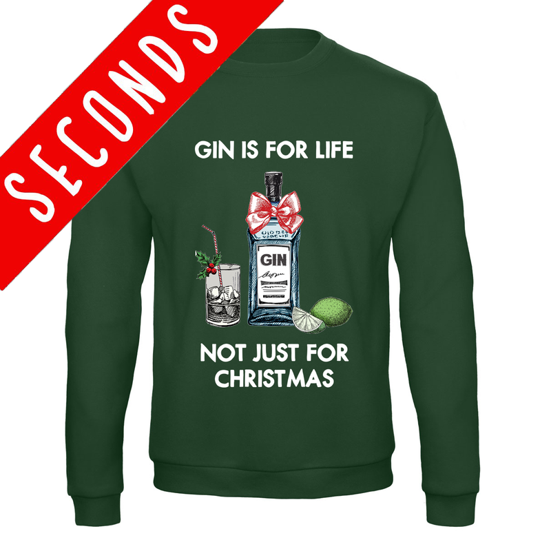 'Gin Is For Life' Christmas Jumper - SLIGHT SECOND GREEN XS-Tote Bag-Of Life & Lemons®