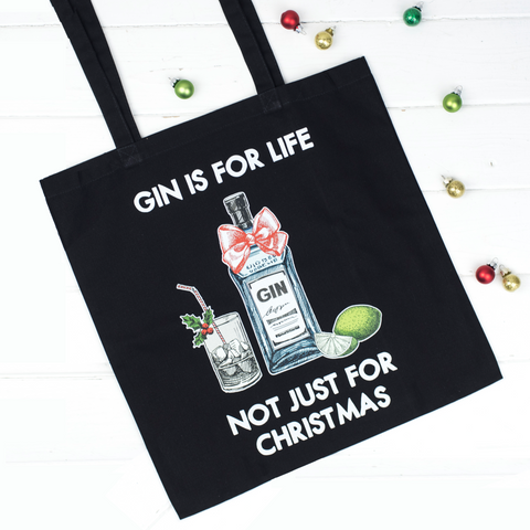 'Gin is for Life' Christmas Tote Bag-Tote Bag-Of Life & Lemons®