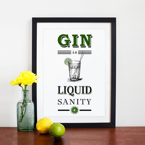 'Gin is Liquid Sanity' Print-A4 Print-Of Life & Lemons®