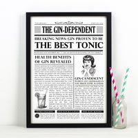 Personalised Newspaper Gin Print-A4 Print-Of Life & Lemons®