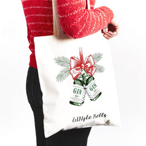 'Gingle Bells' Christmas Tote Bag-Tote Bag-Of Life & Lemons®