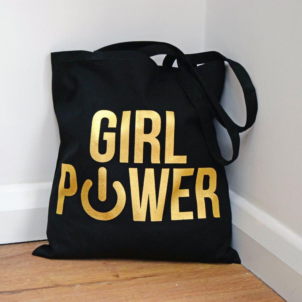 'Girl Power' Gold Foil Tote Bag-Tote Bag-Of Life & Lemons®