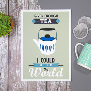 Retro Tea Quote Print-A4 Print-Of Life & Lemons®