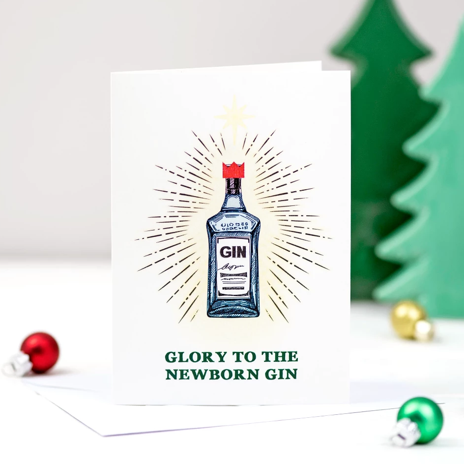 'Glory to the Newborn Gin' Christmas Card-A4 Print-Of Life & Lemons®