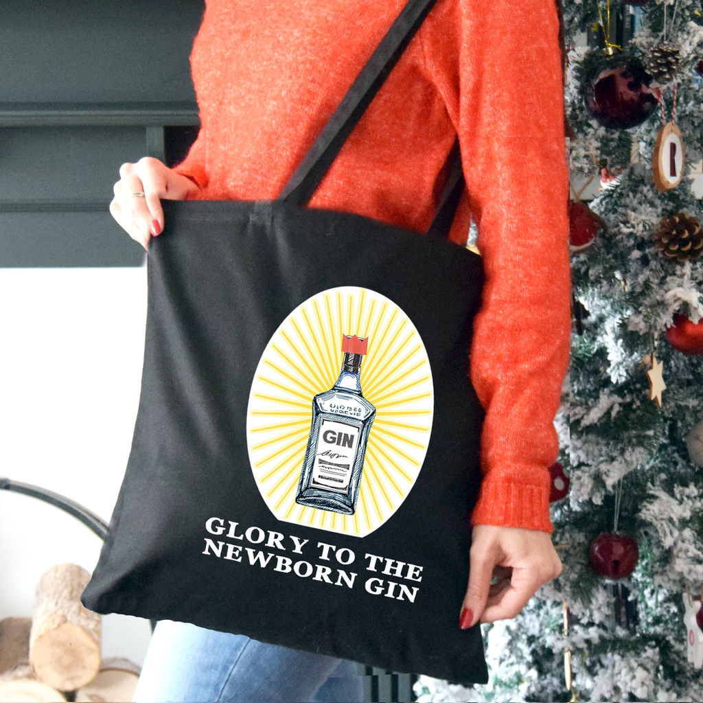 'Glory to the Newborn Gin' Christmas Tote Bag-Tote Bag-Of Life & Lemons®