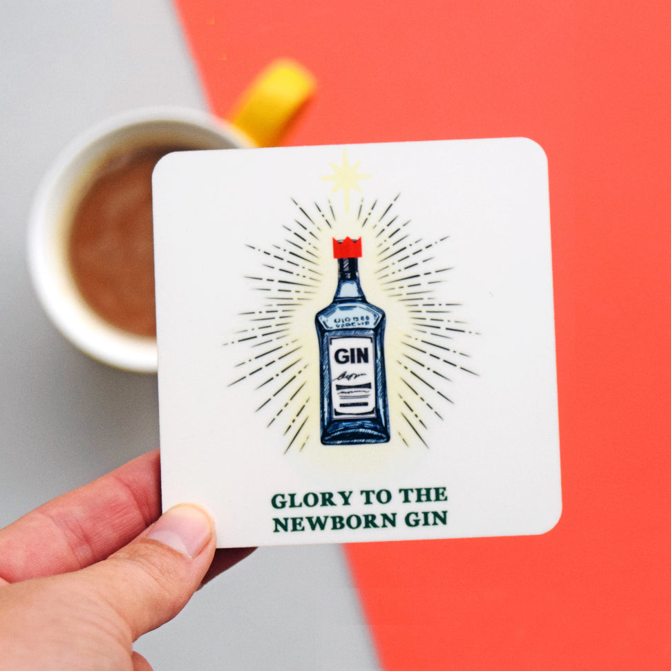 'Glory to the Newborn Gin' Christmas Coaster-coaster-Of Life & Lemons®