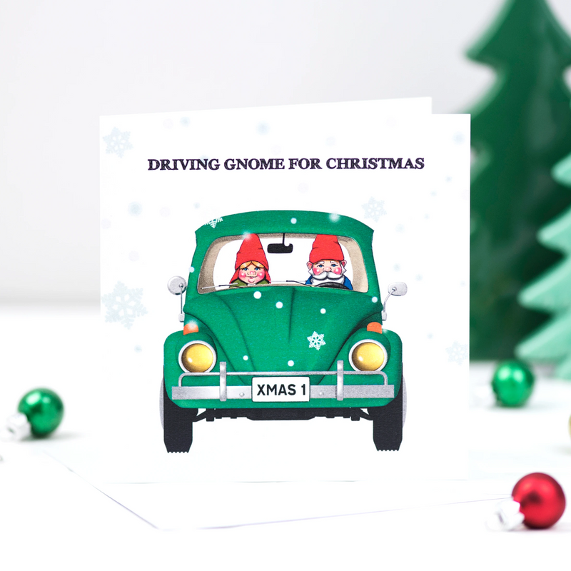 'Driving Gnome for Christmas' Funny Christmas Card-A4 Print-Of Life & Lemons®