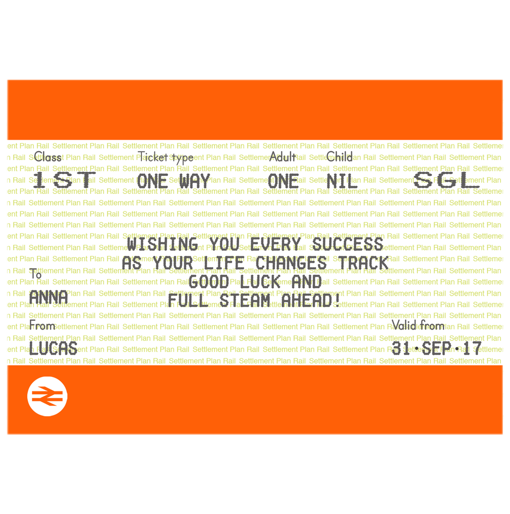 Personalised Train Ticket Good Luck Card-Of Life & Lemons®