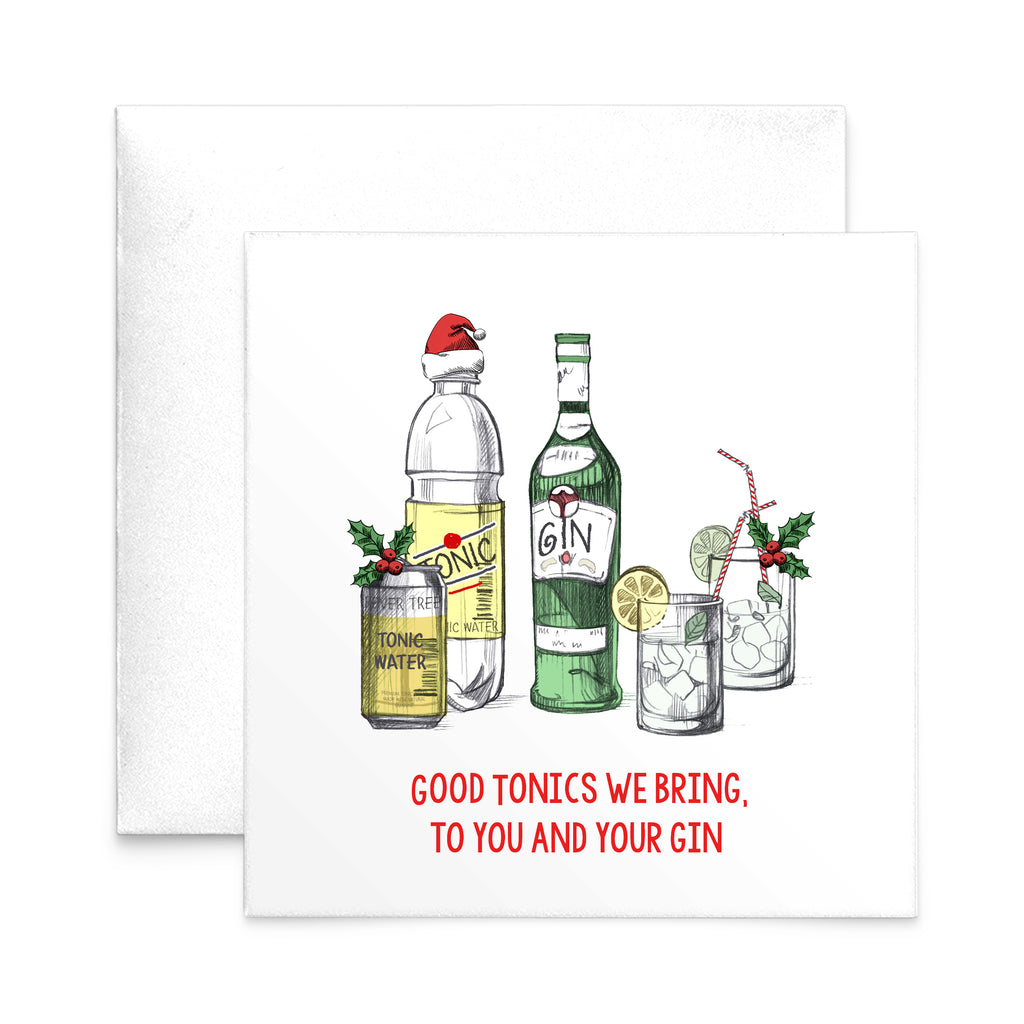 'Good Tonics' Gin Christmas Card-A4 Print-Of Life & Lemons®