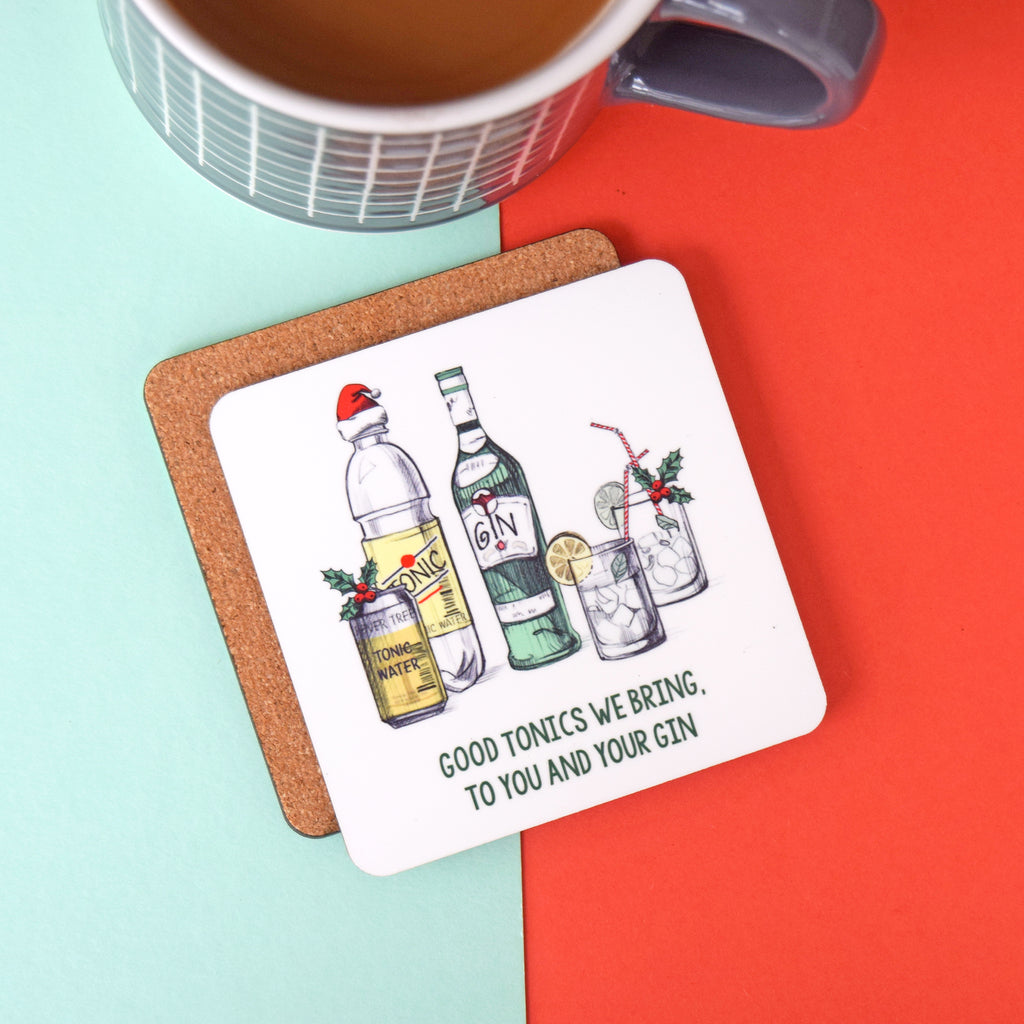 'Good Tonics We Bring' Gin Christmas Coaster-coaster-Of Life & Lemons®