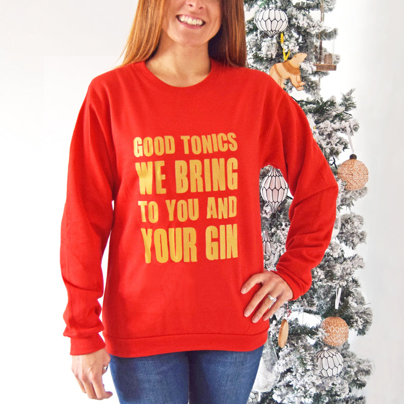 'Good Tonics' Gold Gin Christmas Jumper-Tote Bag-Of Life & Lemons®