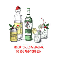 'Good Tonics We Bring' Funny Christmas Fridge Magnet-Of Life & Lemons®