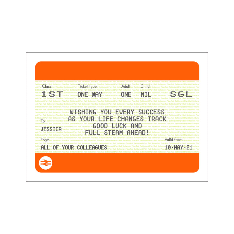 Personalised Good Luck Train Ticket Print