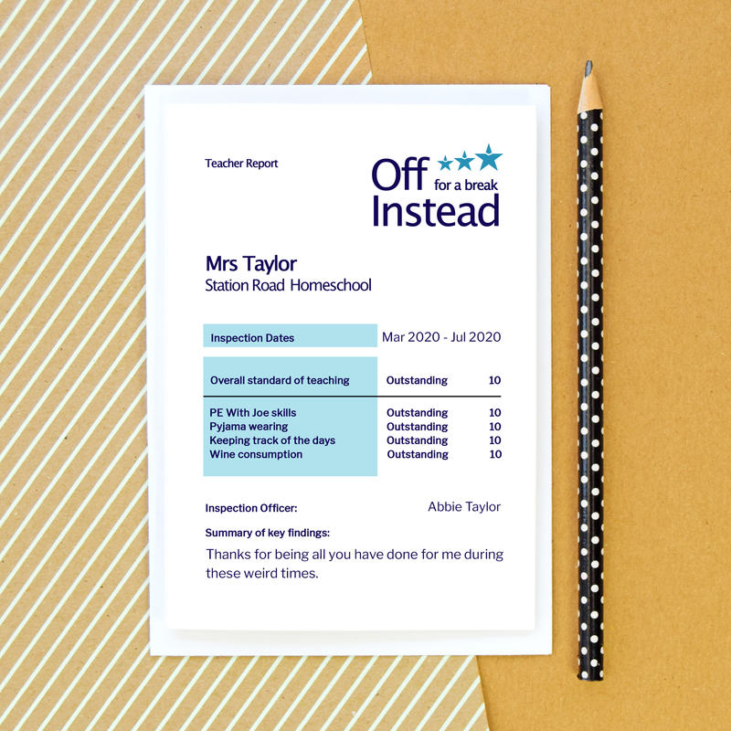 Funny Ofsted Card by Of Life & Lemons