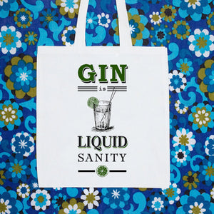 'Gin is Liquid Sanity' Tote Bag-Tote Bag-Of Life & Lemons®