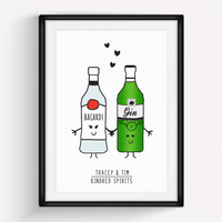 'Kindred Spirits' Personalised Couple Print