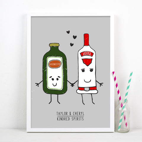 'Kindred Spirits' Personalised Couple Print-A4 Print-Of Life & Lemons®