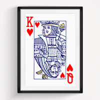 King & Queen of Hearts Personalised Couples Print-A4 Print-Of Life & Lemons®