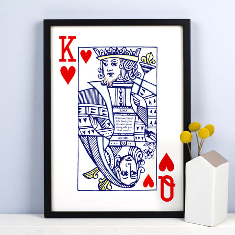 King & Queen of Hearts Personalised Print