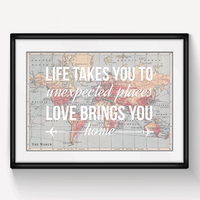Personalised Love Quote Map Print-A4 Print-Of Life & Lemons®