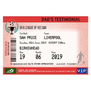 Personalised Football Ticket Print for Dad-Of Life & Lemons®