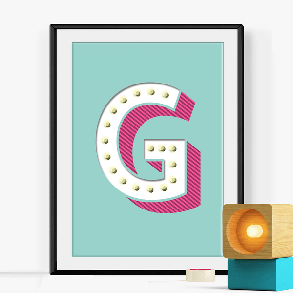 Personalised Retro Letter Print
