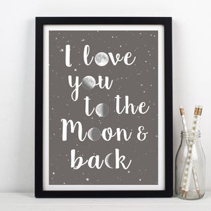 'I Love You to the Moon and Back' Print-A4 Print-Of Life & Lemons®