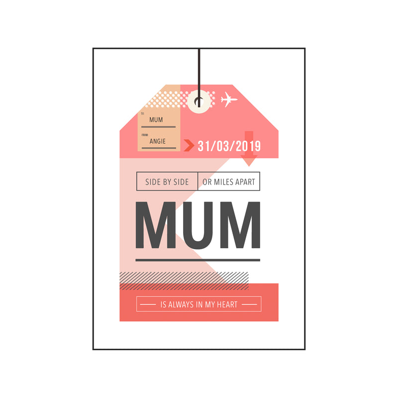 Personalised Luggage Tag Mother's Day Card-A4 Print-Of Life & Lemons®