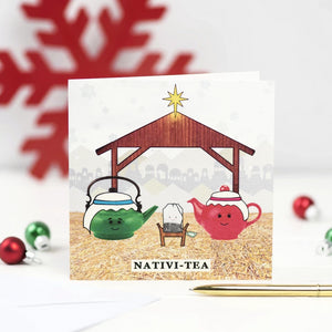 'Nativi-Tea' Funny Tea Christmas Card-A4 Print-Of Life & Lemons®