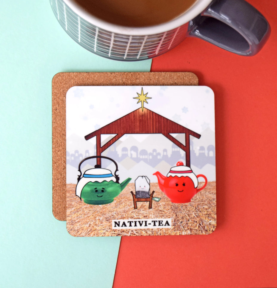 Funny Christmas Tea Coaster-coaster-Of Life & Lemons®