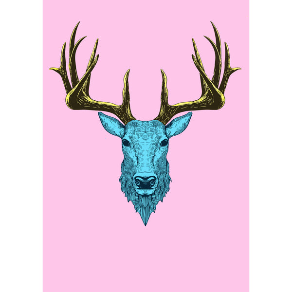 Neon Stag Print