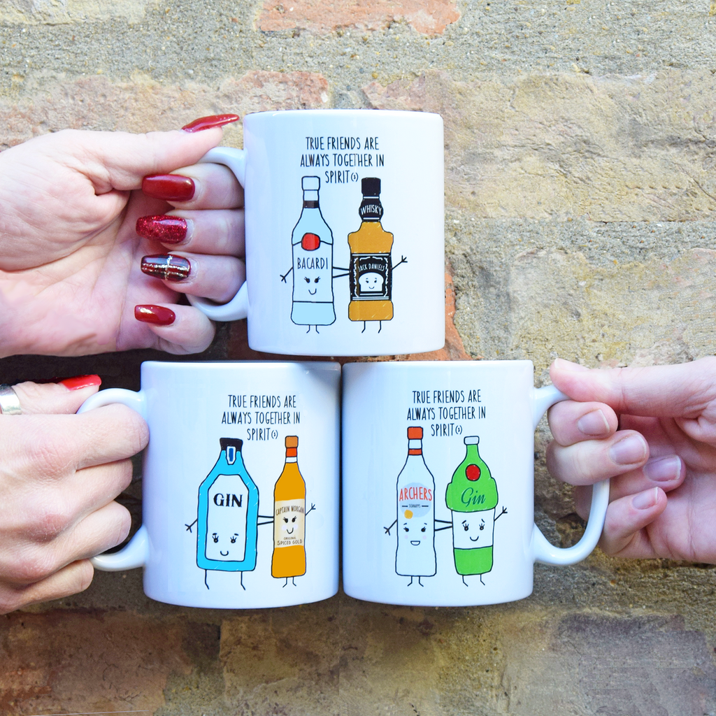 Personalised 'Together in Spirits' Friendship Mug (Choose your drinks)-Of Life & Lemons®