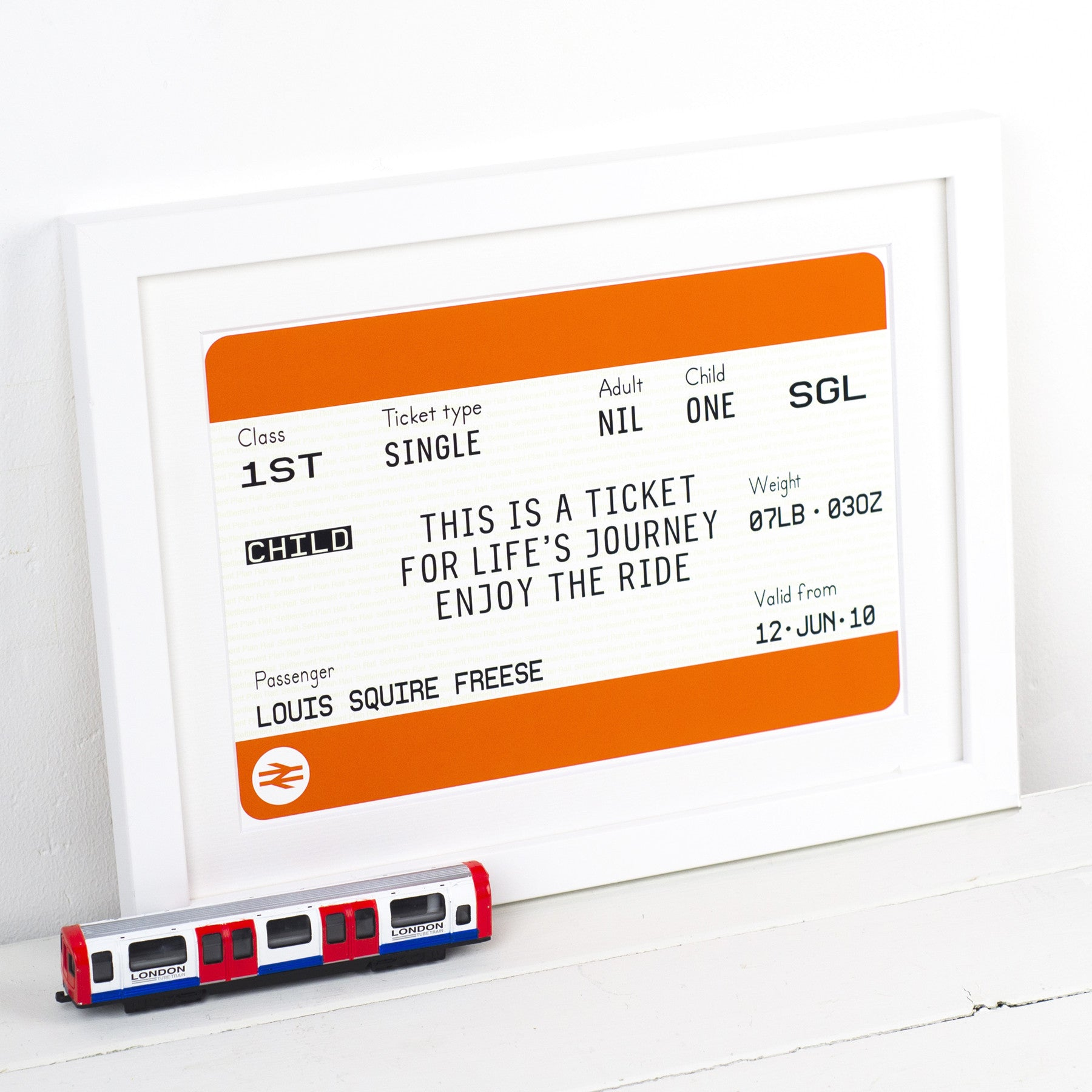Personalised New Baby Train Ticket Print-A4 Print-Of Life & Lemons®