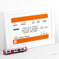Personalised New Baby Train Ticket Print