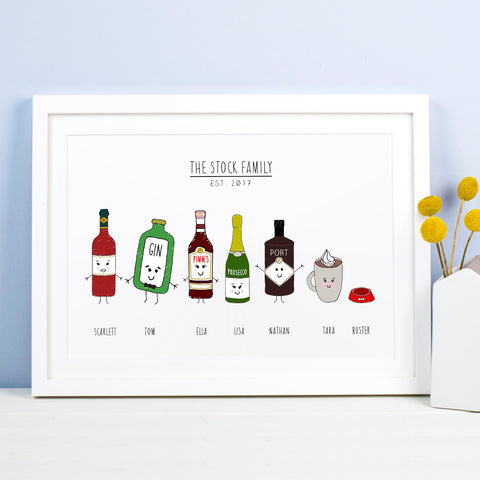 Personalised Family Drinks Print