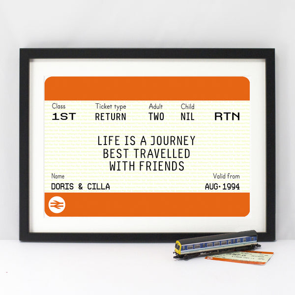 Personalised Train Ticket Friendship Print