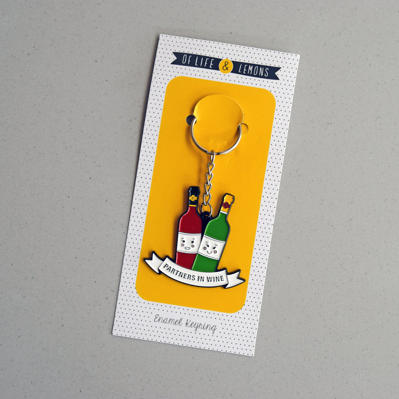'Partners in Wine' Friendship Keyring-Of Life & Lemons®