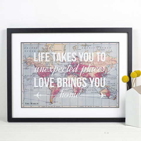 Personalised Love Quote Map Print